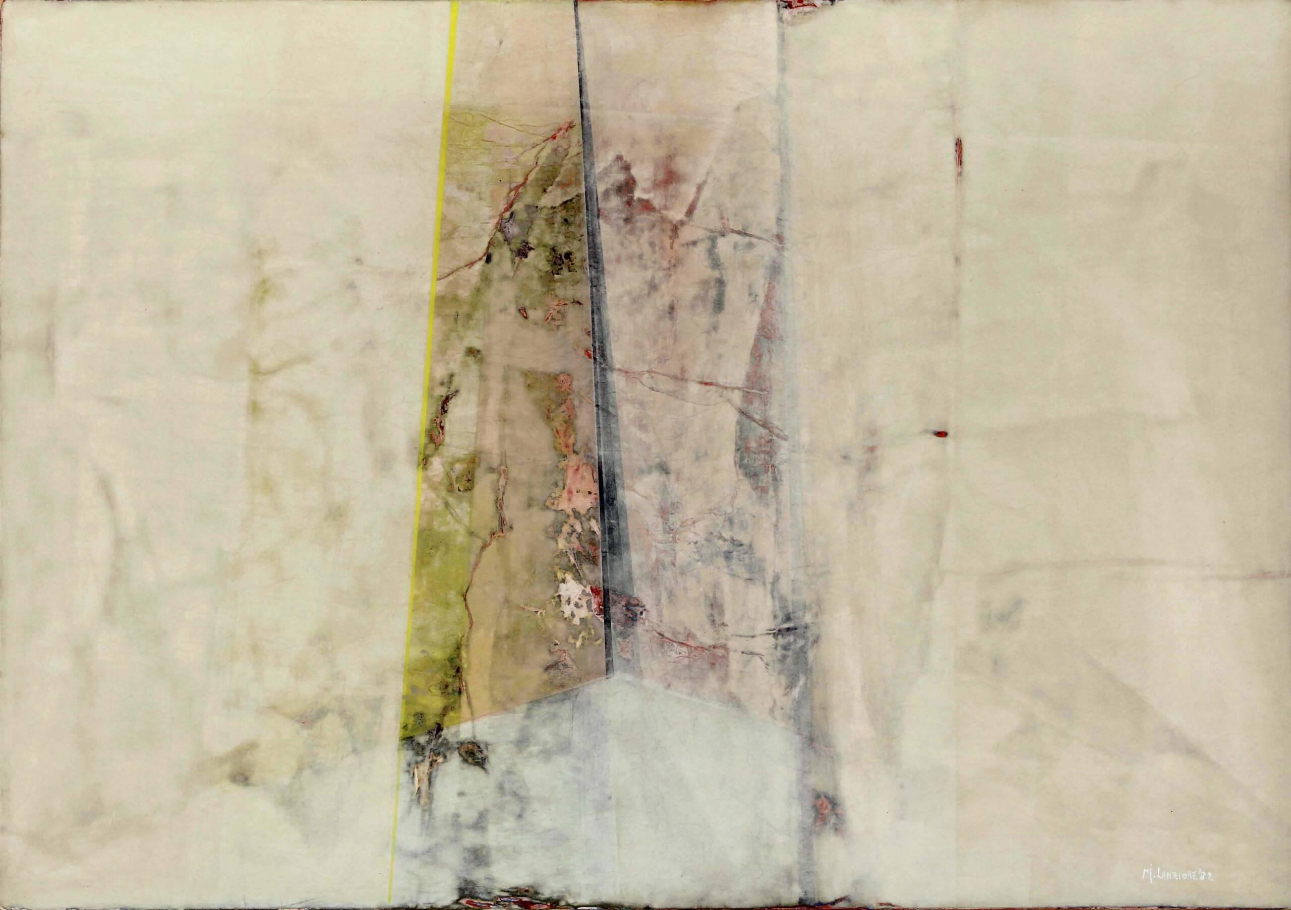 3) 1985 – La soglia dell'infinito – carte veline e acrilici su tavola 70×100