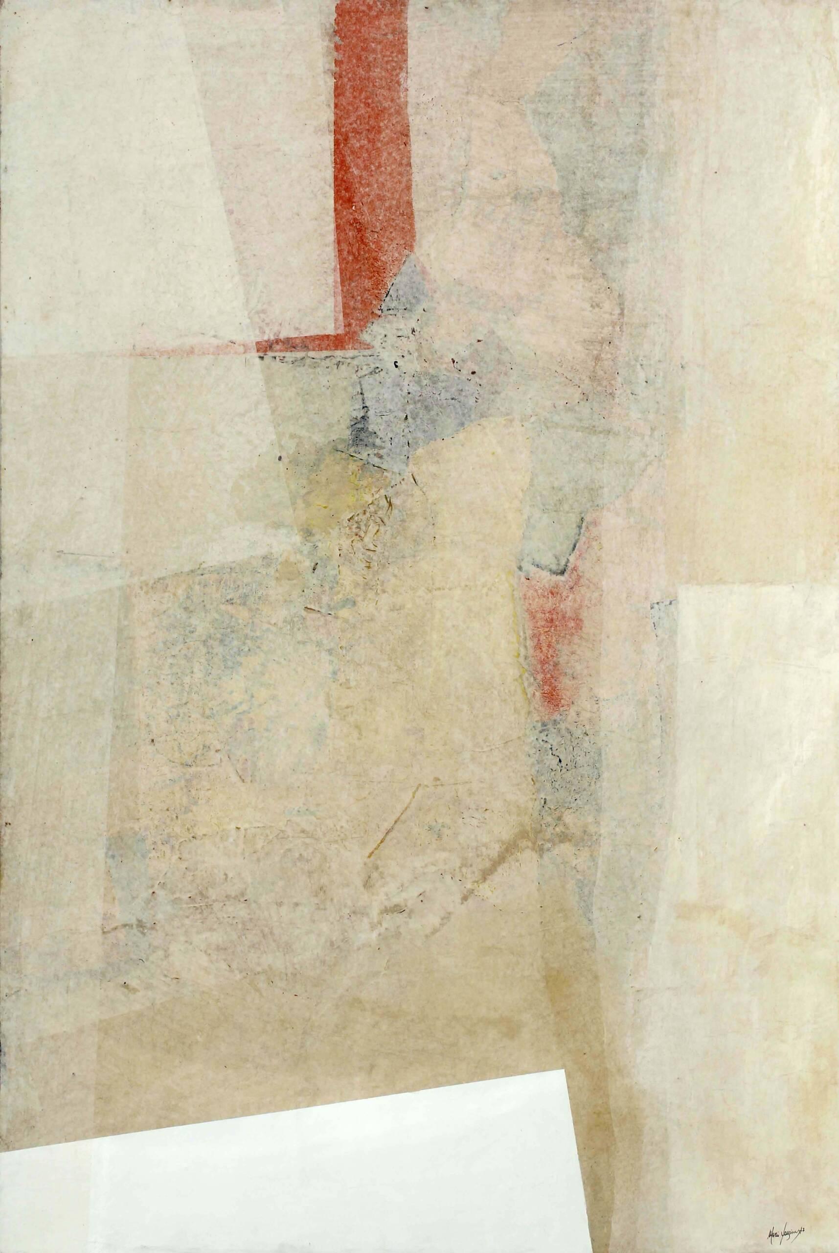 3)Mario Lanzione 1977 – Materia e trasparenze – carte veline e acrilici su tavola 100×70