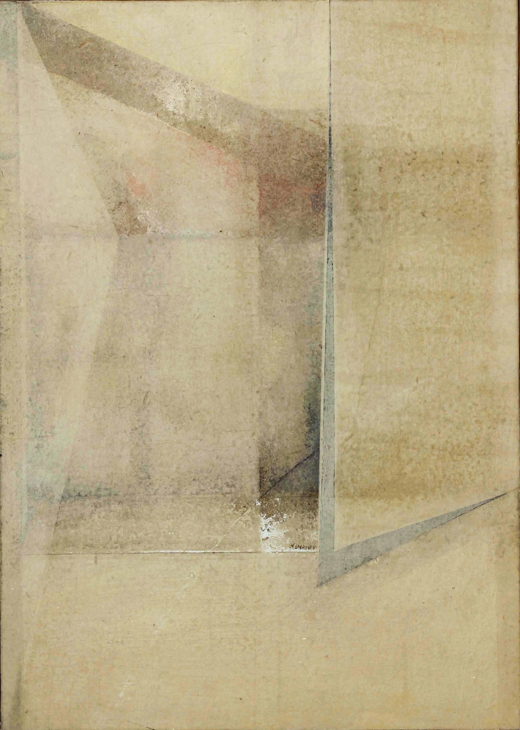 4)Mario Lanzione 1981 – Emovelazioni. Velature di finestra – Carte veline e acrilici su tavola 70×50